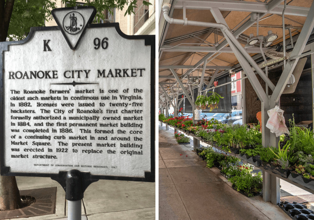 Roanoke City Market - historical sign and veggies for sale.