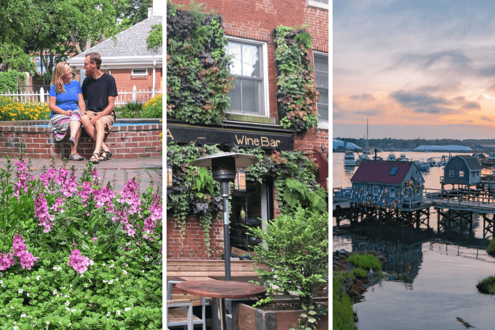 A collage of photos from downtown Portsmouth, New Hampshire
