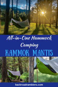 A collage of hammock photos. Caption reads: all-in-one hammock camping with the Kammok Mantis