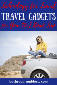 a woman sits on the top of her car and looks at a phone. Caption reads: Travel technology guide