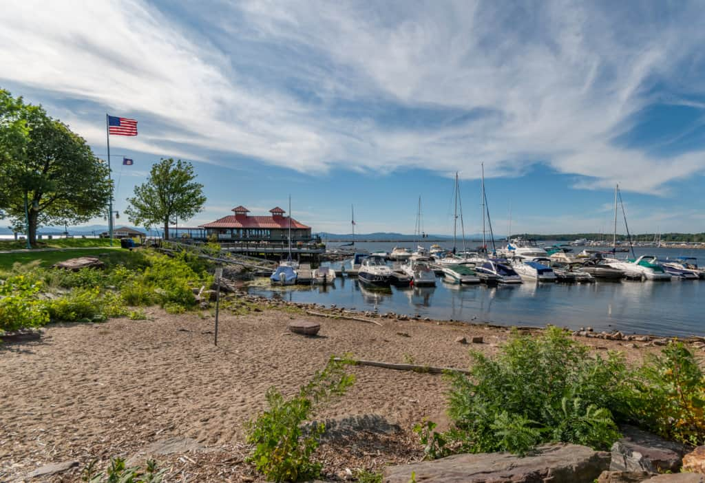 The Lake Champlain waterfront in Burlington, Vermont