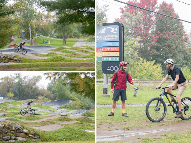 A collage of mountain biking photos from the National Cycling Center of Bromont.