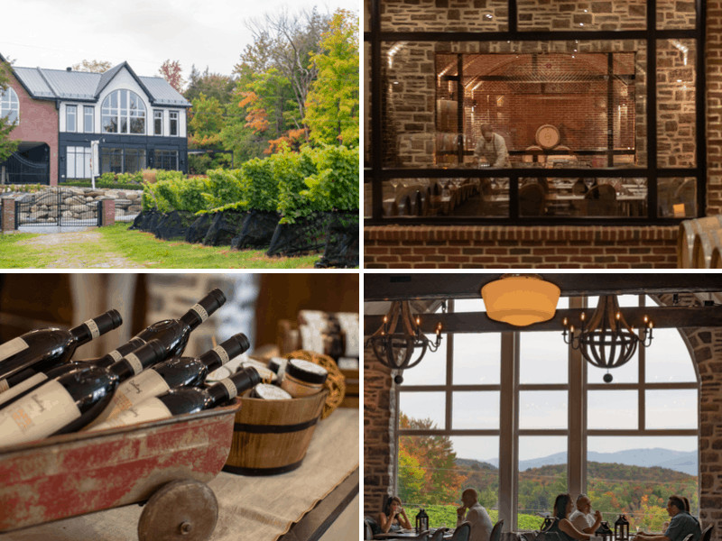 A collage of photos from Le Vignoble du Ruisseau in Dunham, Quebec.