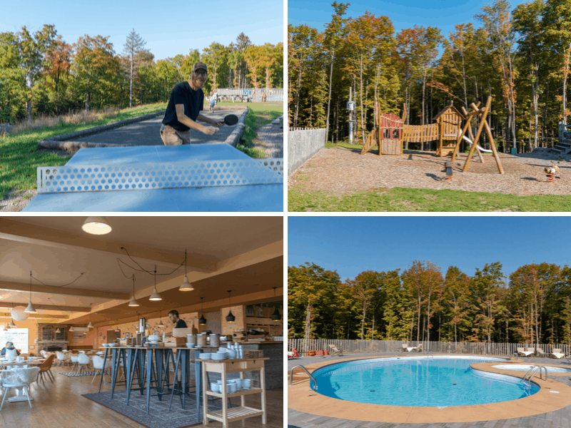 A collage of photos describing the amenities available at Huttopia in Sutton, Quebec - ping pong, a play ground, a heated pool, and a breakfast buffet.