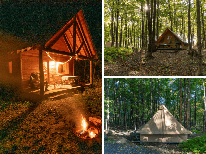 Different lodging options available at Huttopia in Sutton, Quebec.