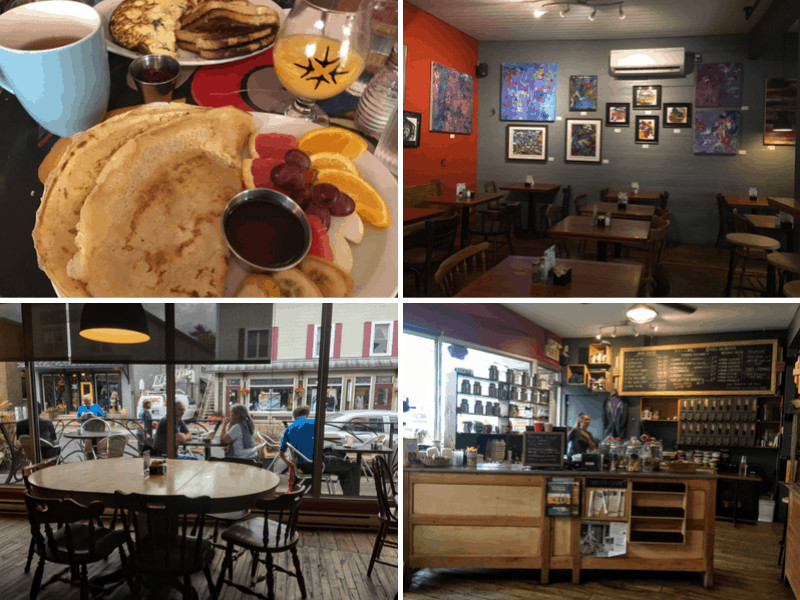 A collage of photos featuring the bustling cafe, Le Cafetier in Sutton,Quebec.