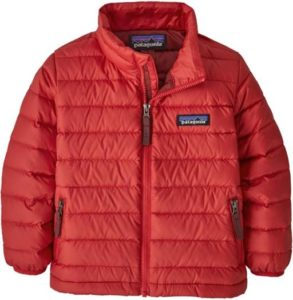 A red down jacket made by Patagonia