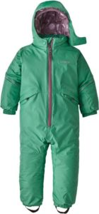 A green toddler snowsuit from Patagonia.