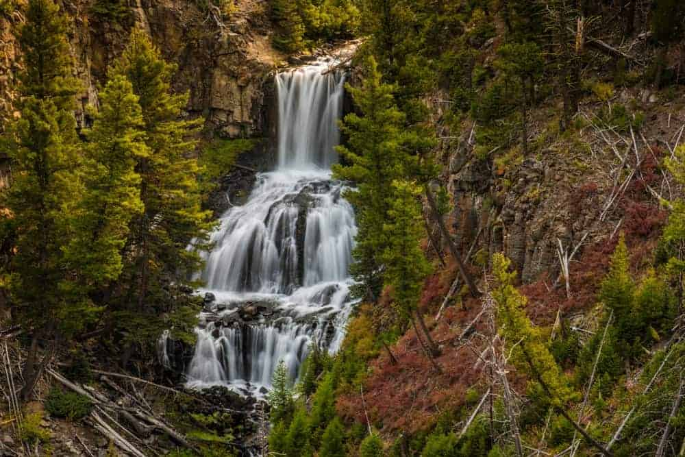 Undine Falls near the north entrance of Yellowstone National Park.