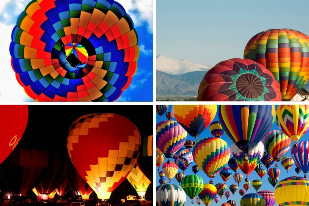 A collage of photos featuring hot air balloon festivals around the USA