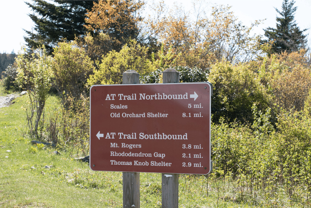 The Appalachian Trail sign at the top of Wilburn Ridge in Virginia.