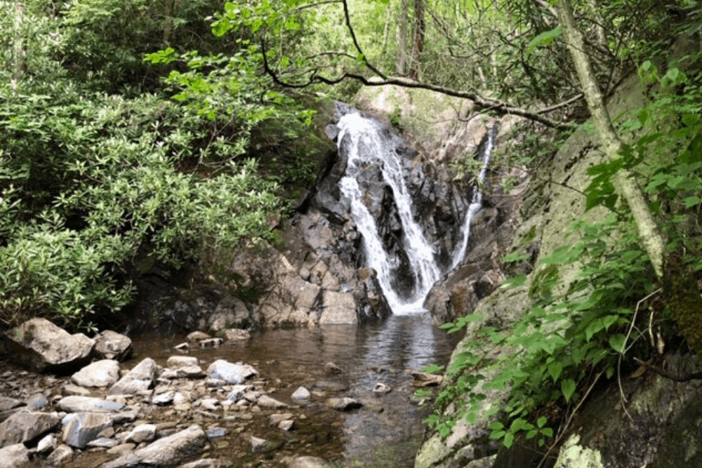 A triple waterfall on the Cabin Creek Trail in Grayson Highlands State Park.
