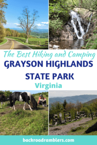 A collage of photos from Grayson Highlands State Park. Caption reads:The best hiking and camping in Grayson Highlands State Park.
