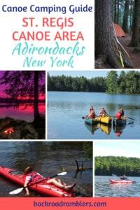 A collage of canoe and kayak photos. Caption reads: Canoe camping - St. Regis Canoe Area Adirondacks, New York