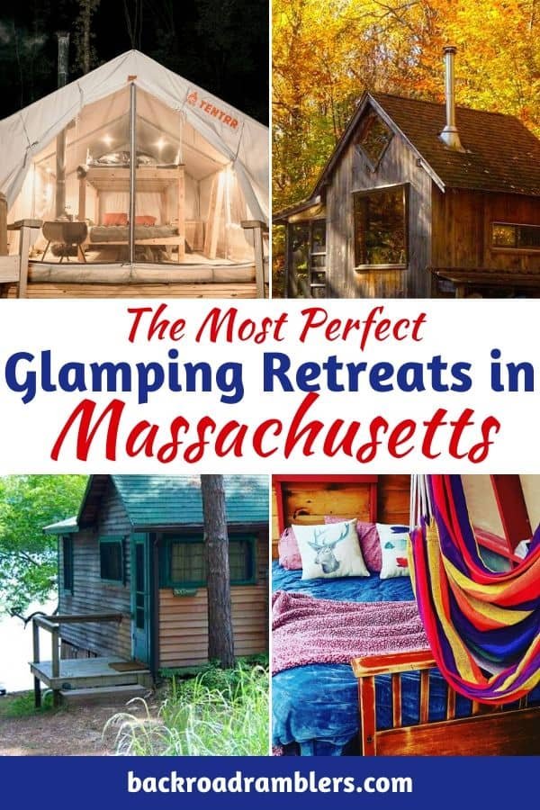 Four photos featuring different glamping properties in Massachusetts