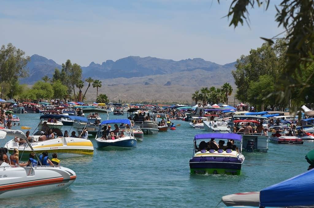 The Bridgewater Channel in Lake Havasu City full of boats for spring break