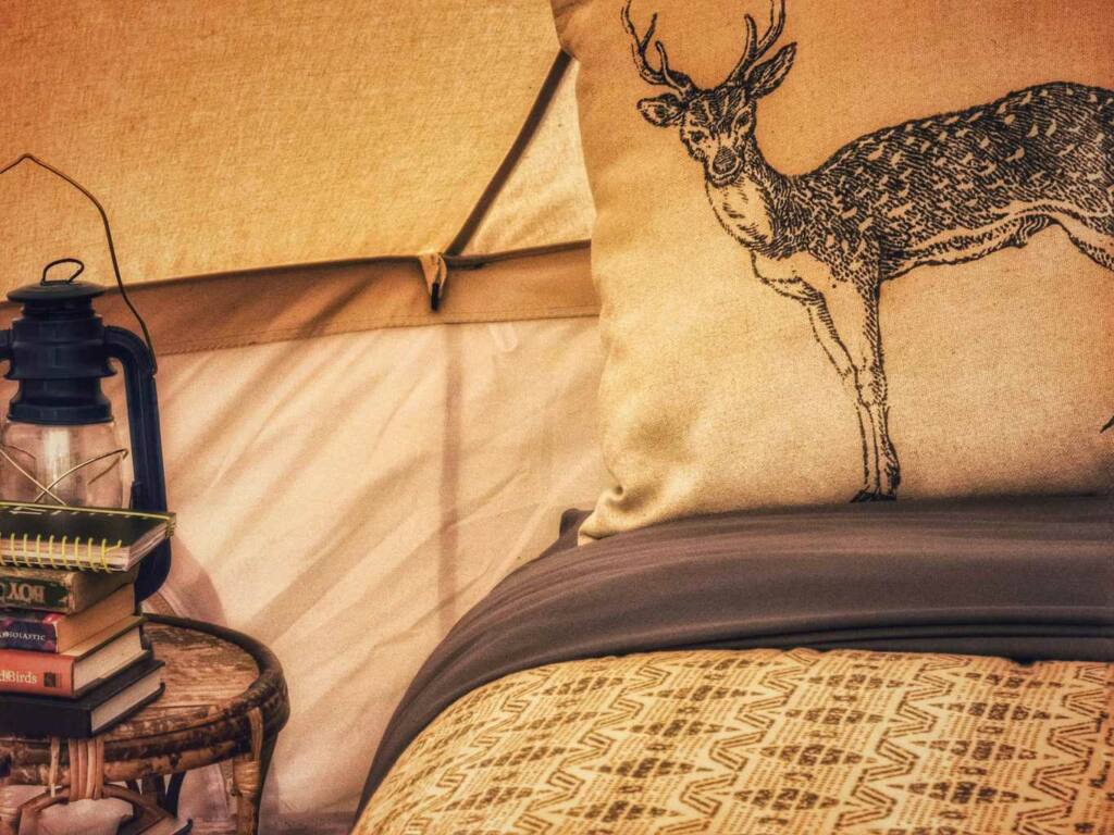 A pillow with a drawing of a deer on it sits on a bed inside a camping tent.