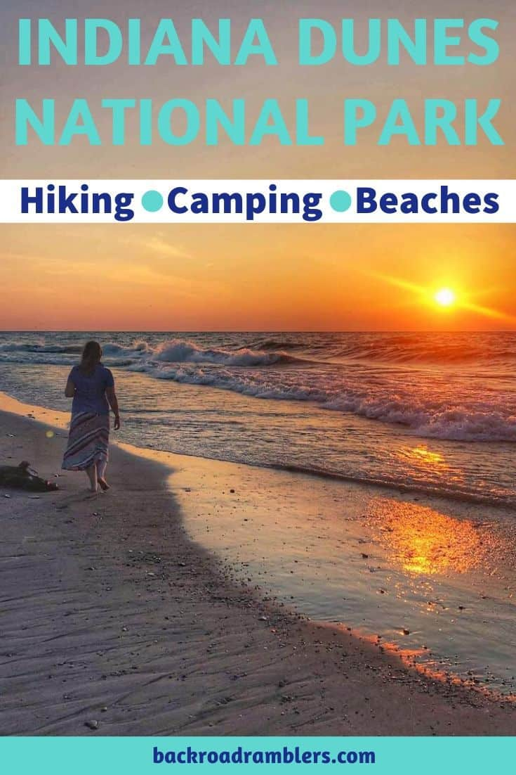 A woman walking on a beach at sunset. Caption reads: Indian Dunes National Park, hiking, camping, beaches