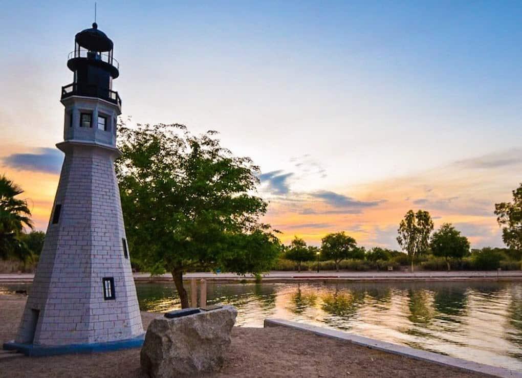 A replica lighthouse on London Bridge Beach in Lake Havasu Arizona