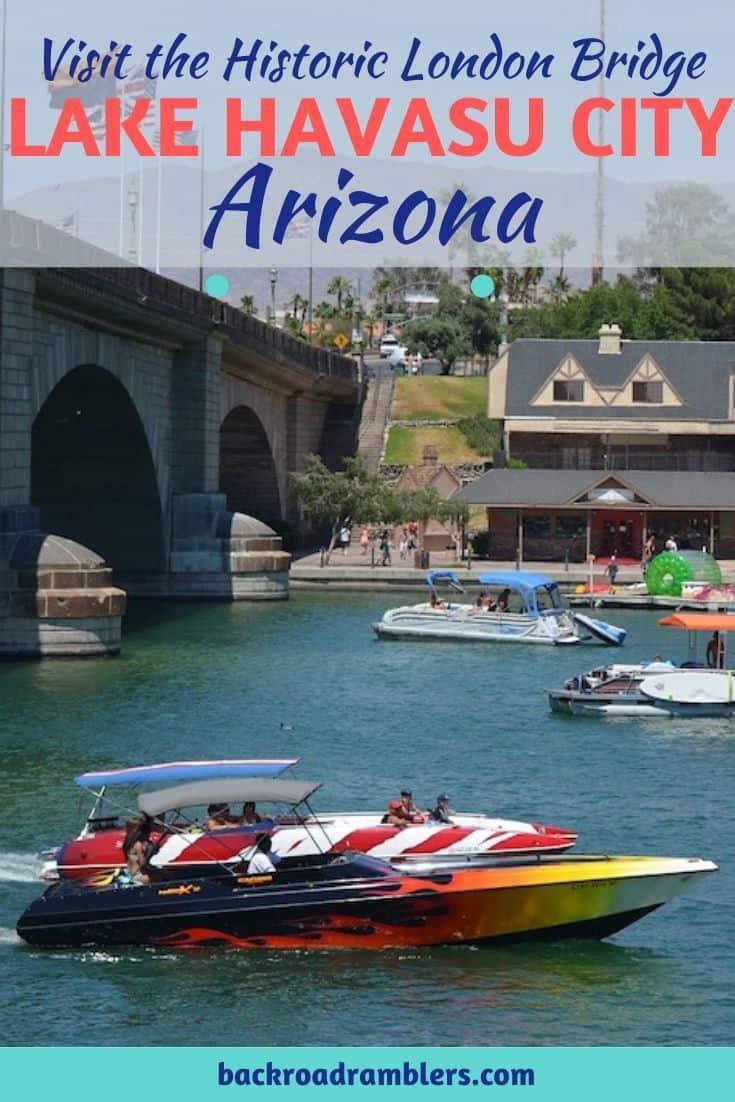 A photo of a boat under the London Bridge in Lake Havasu City, Arizona