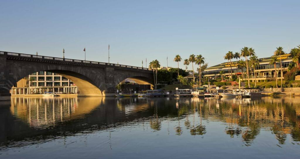 An early morning view of the London Bridge in Lake Havasu City, Arizona