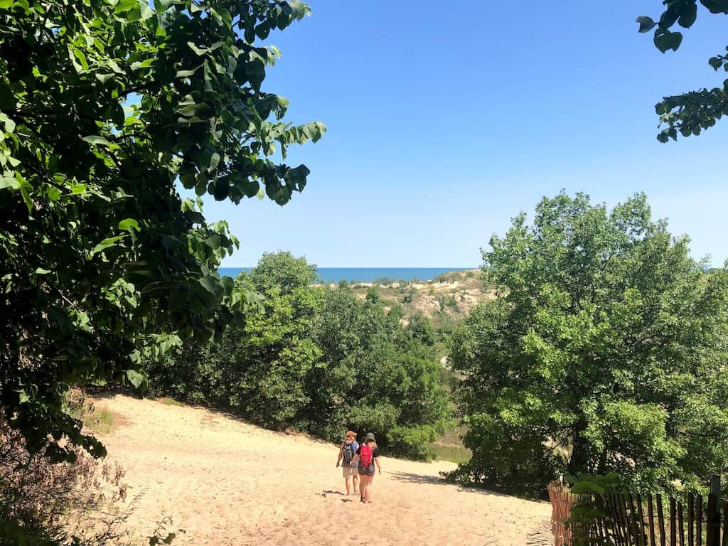 Hiking on the Long Lake trail in Indiana Dunes National Park.