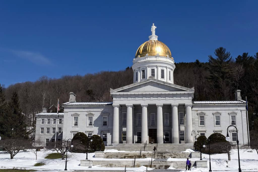 The capitol building in Montpelier, Vermont during mud season.