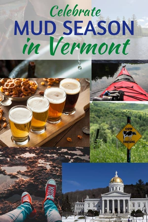 A collage of photos from mud season in Vermont.