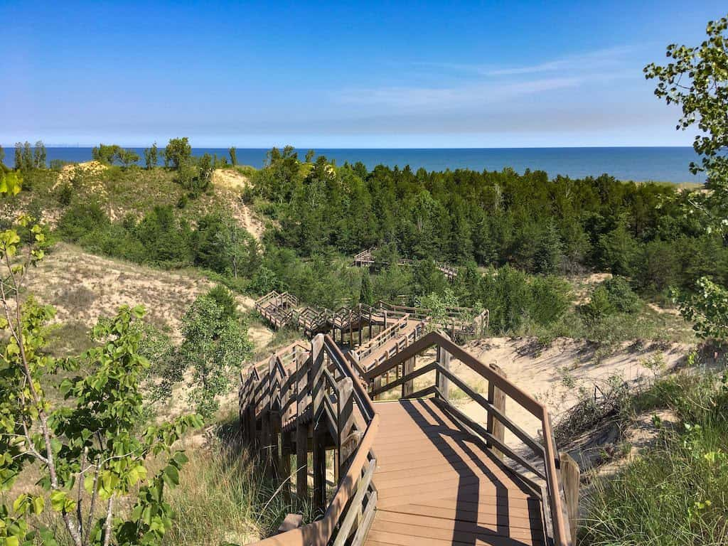 A view of Lake Michigan from the Dune Succession Trail.