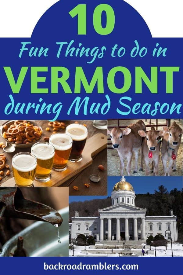 A collage of photos from mud season in Vermont