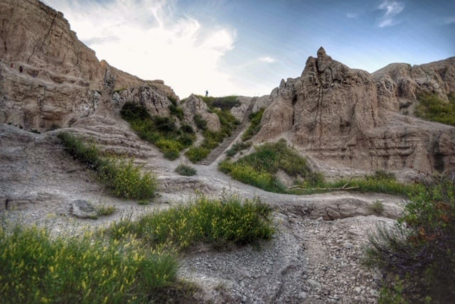 The ladder on the Notch Trail in Badlands National Park