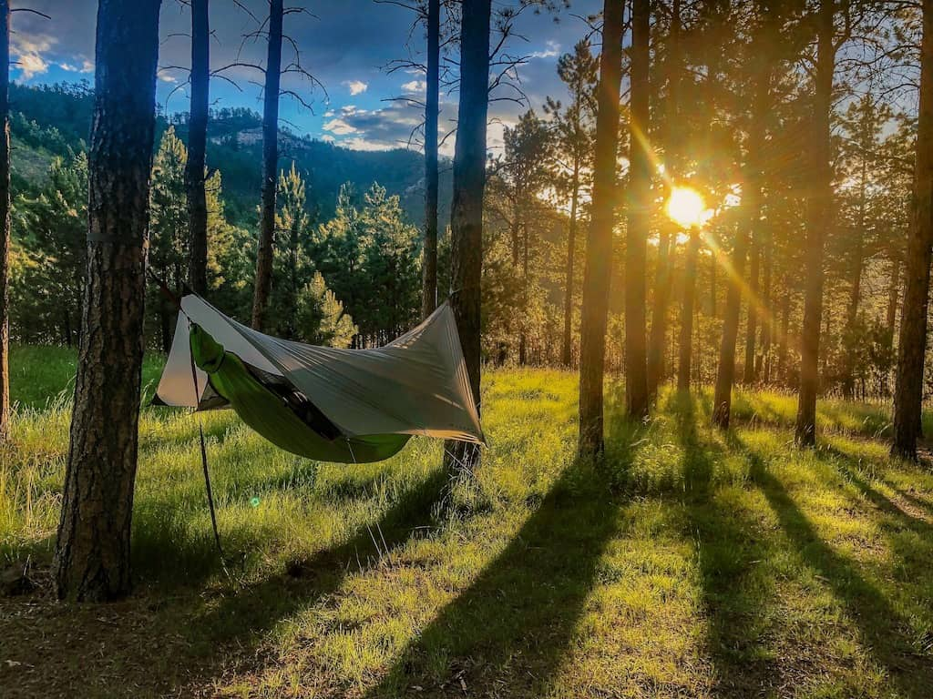 a hammock hangs from two trees in Blue Bell Campground, Custer State Park, South Dakota