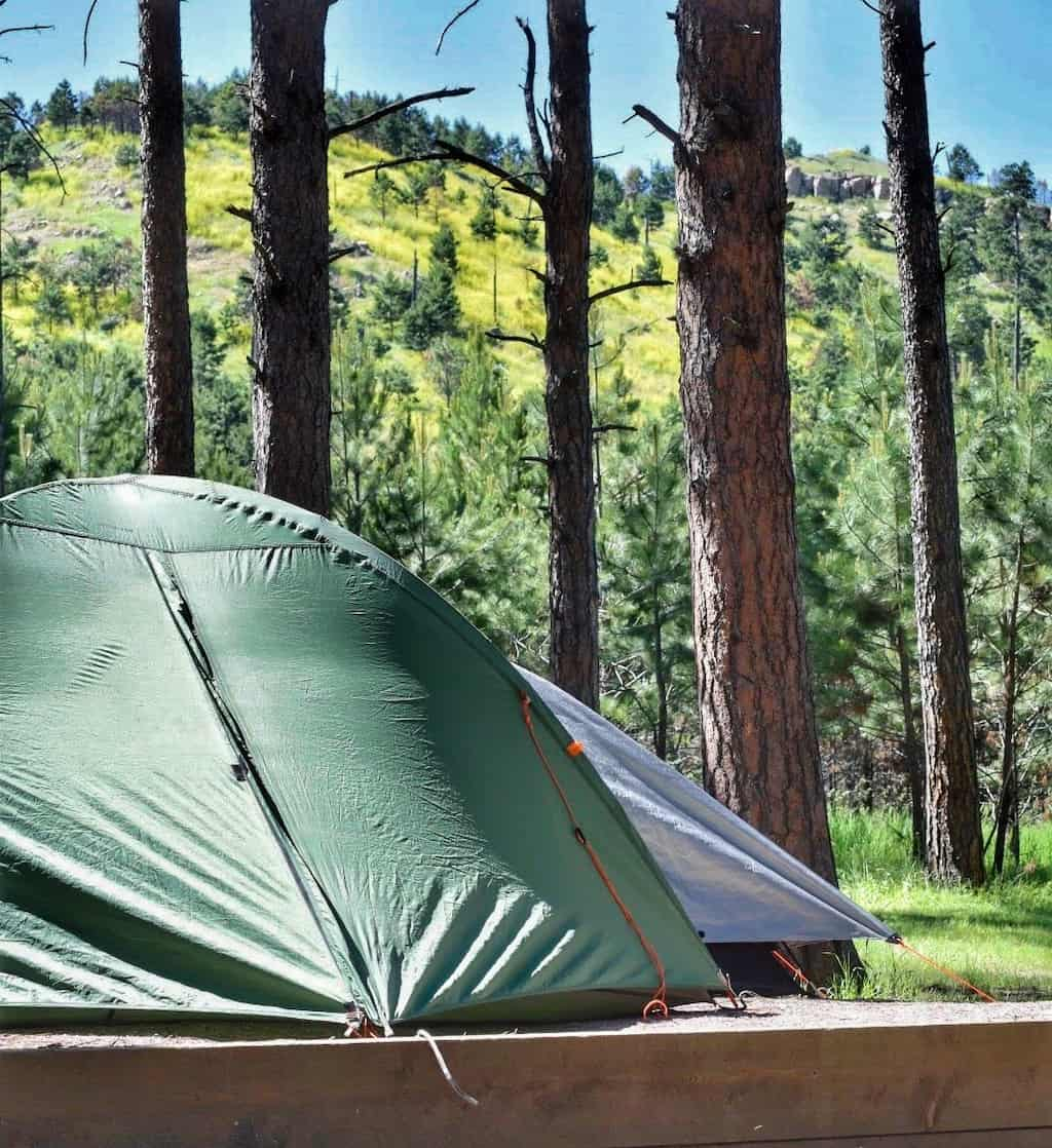 two tents set up in Blue Bell Campground, Custer State Park, South Dakota