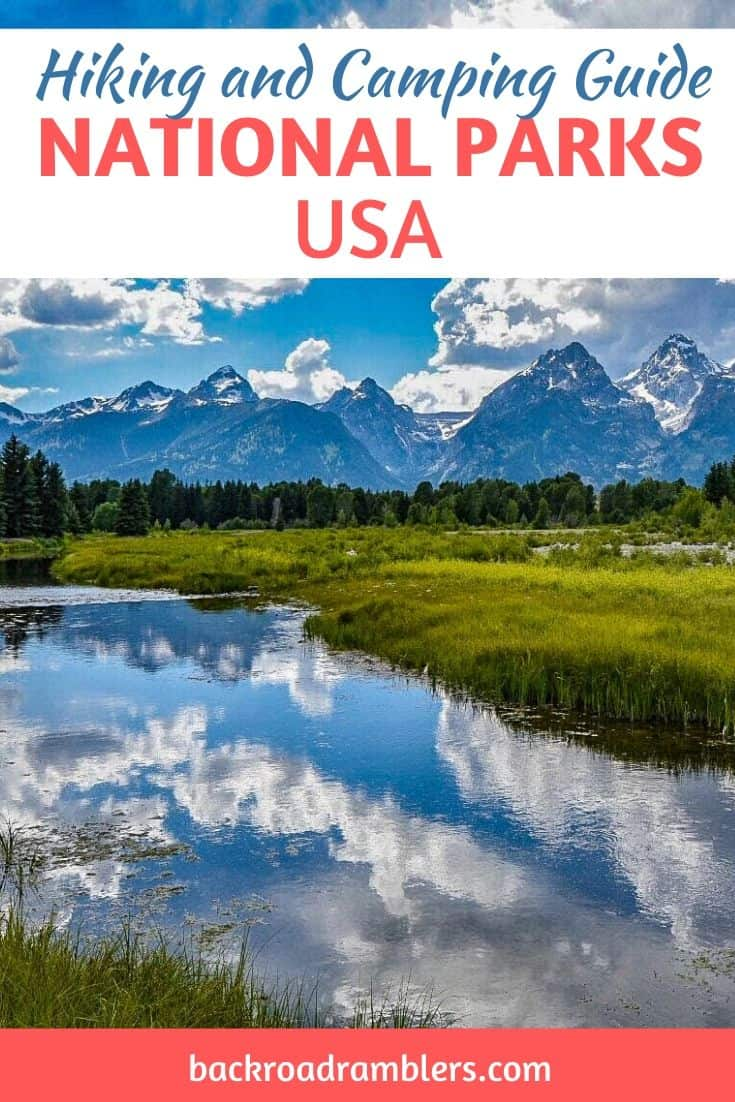 Grend Teton National Park. Caption Reads: National Park camping and hiking guide.
