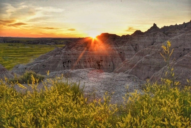 Sunset over the rock formations in Badlands National Park.