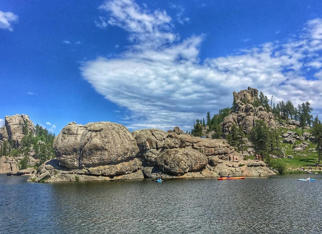 Paddlers on Sylvan Lake in Custer State Park, South Dakota