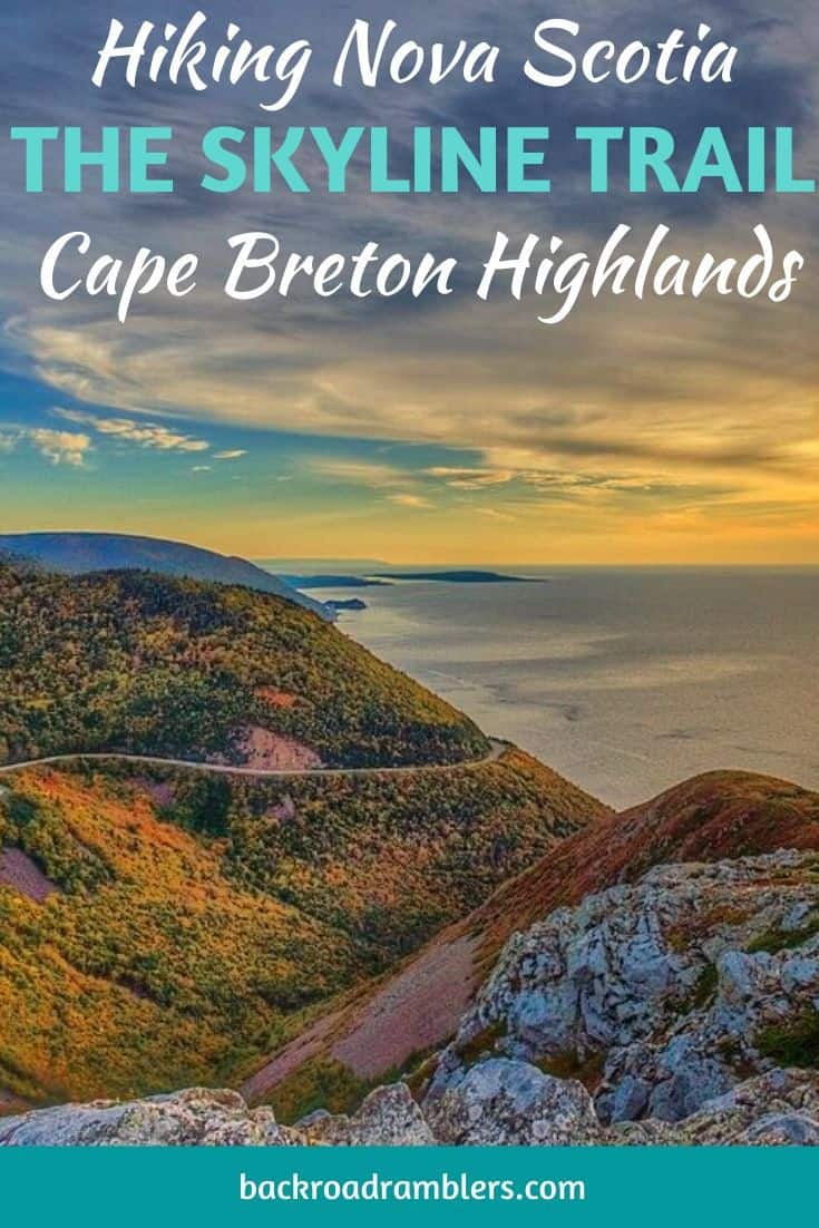 A sunset photo of the Skyline Trail on Cape Breton Island