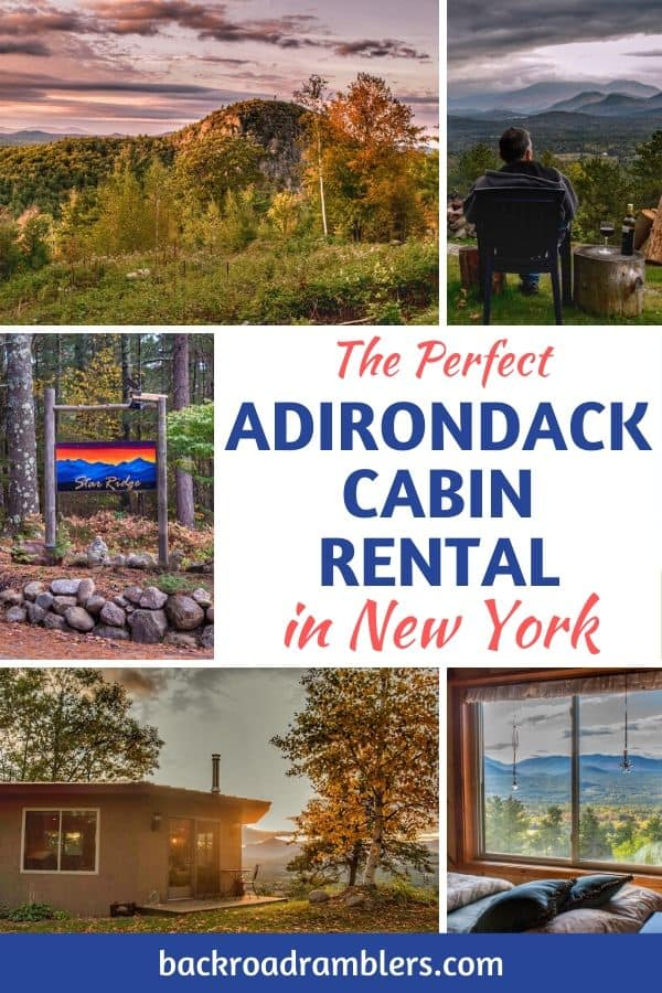 A collage of photos from a vacation rental in the Adirondacks. Caption reads: The Perfect Adirondack Cabin Rental in New York.