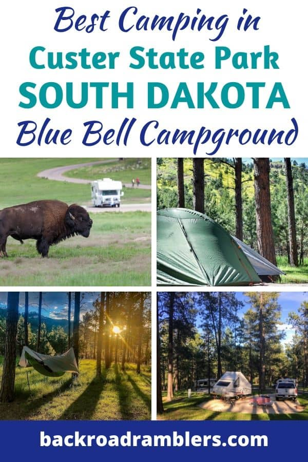 A collage of camping photos from Custer State Park in South Dakota. Caption Reads: Best camping in Custer State Park - Blue Bell Campground