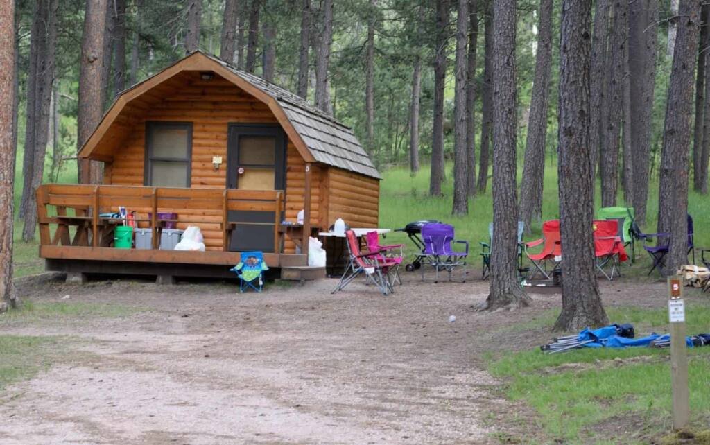 One of the camping cabins in Blue Bell Campground Custer State Park.