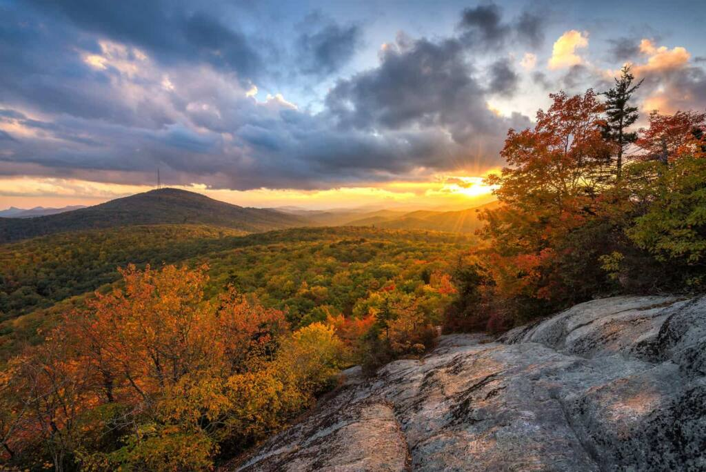 A photo of a lookout on the Blue Ridge Parkway in North Carolina during the fall.