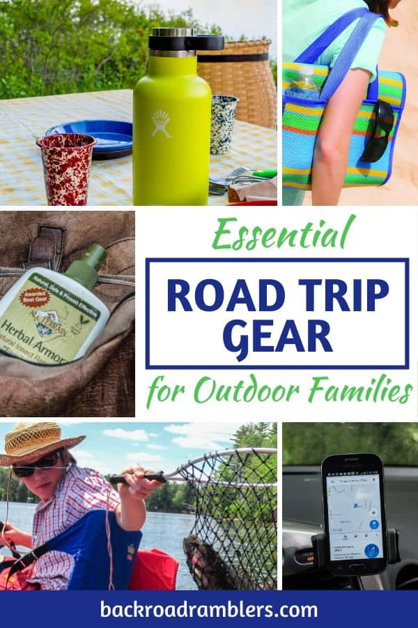 A collage featuring favorite road trip gear. Caption reads: Essential Road Trip Gear for Outdoor Families.
