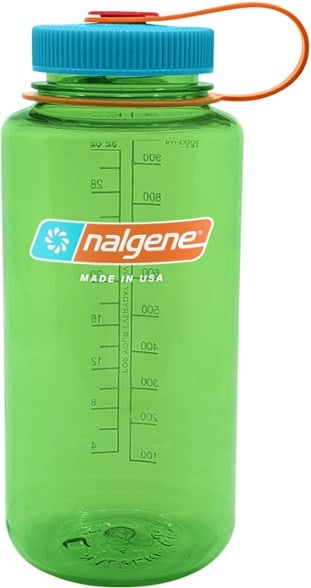 A green Nalgene Water Bottle