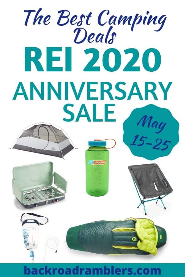 A collage of photos featuring camping products that will be on sale during the REI Anniversary Sale. Caption reads: The Best Camping Deals of the REI 2020 Anniversary Sale.