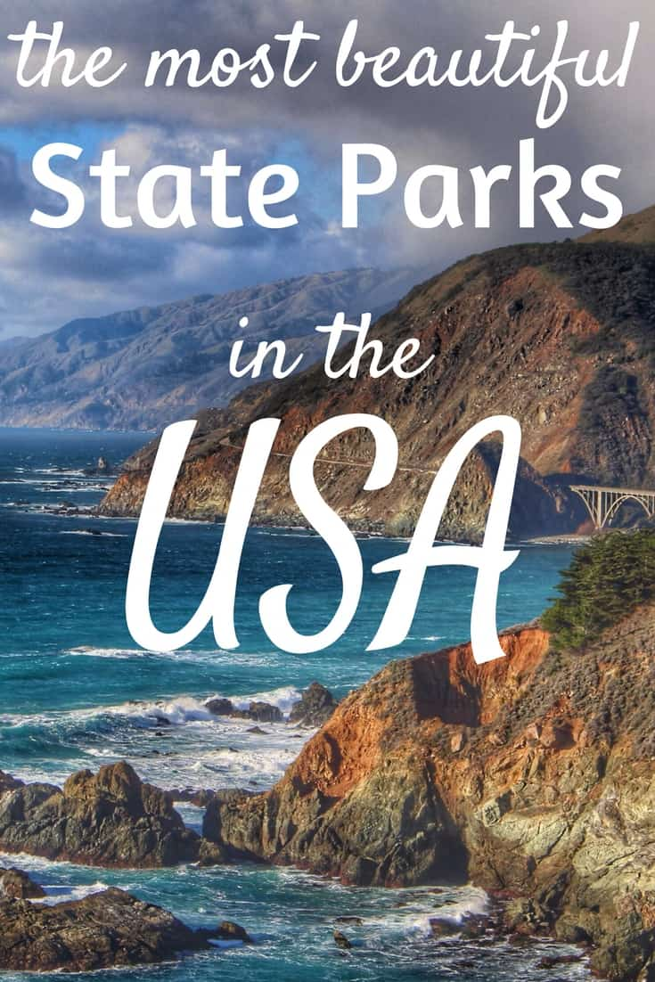 A collage of beautiful landscape photos. Caption reads: The best state parks in the USA