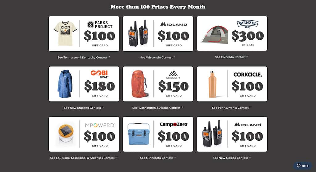 A list of prizes offered on The Dyrt Camping App for leaving campground reviews on their website or app.