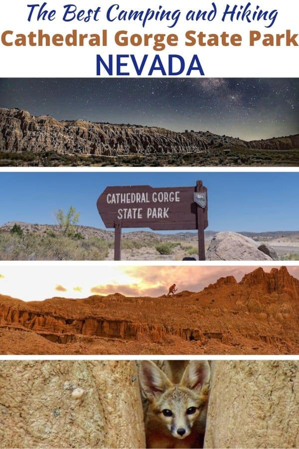 A collage of photos featuring Cathedral Gorge State Park in Nevada.