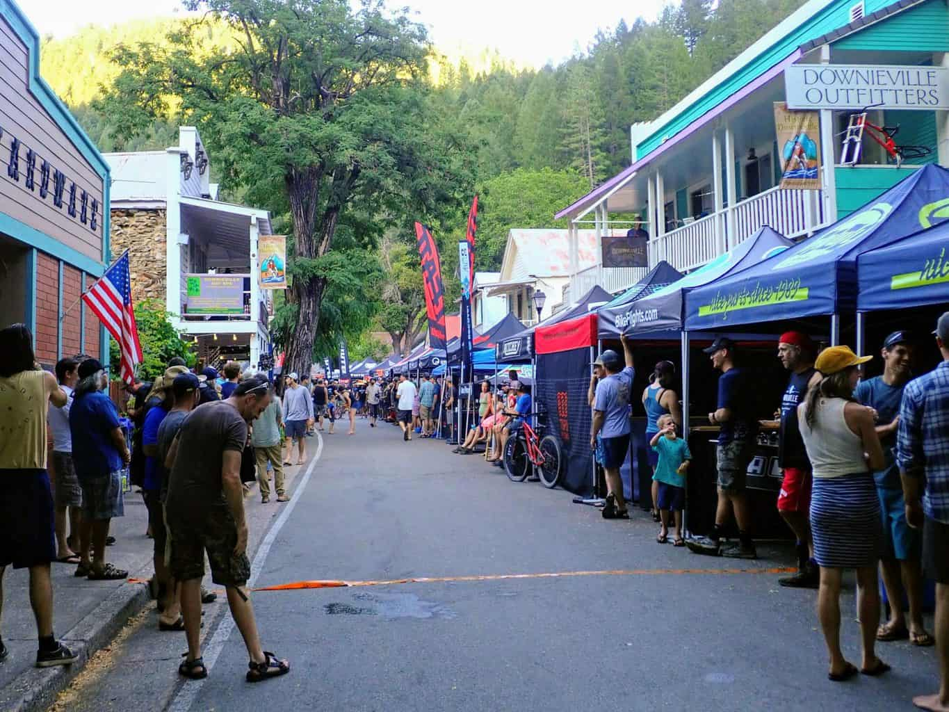 Spectators lining the streets for the Downieville Classic.