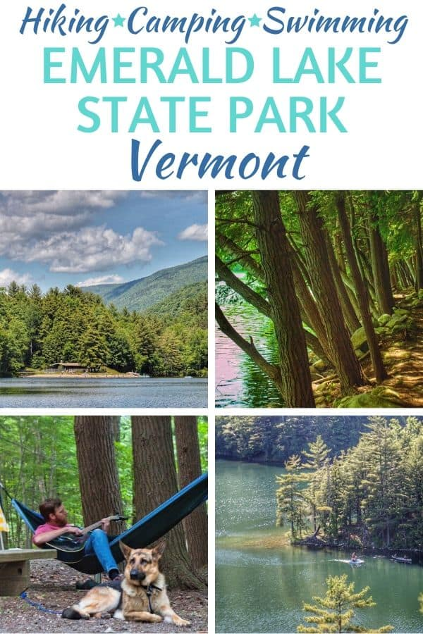 A collage of photos from Emerald Lake State Park in Vermont featuring swimming, hiking, and camping