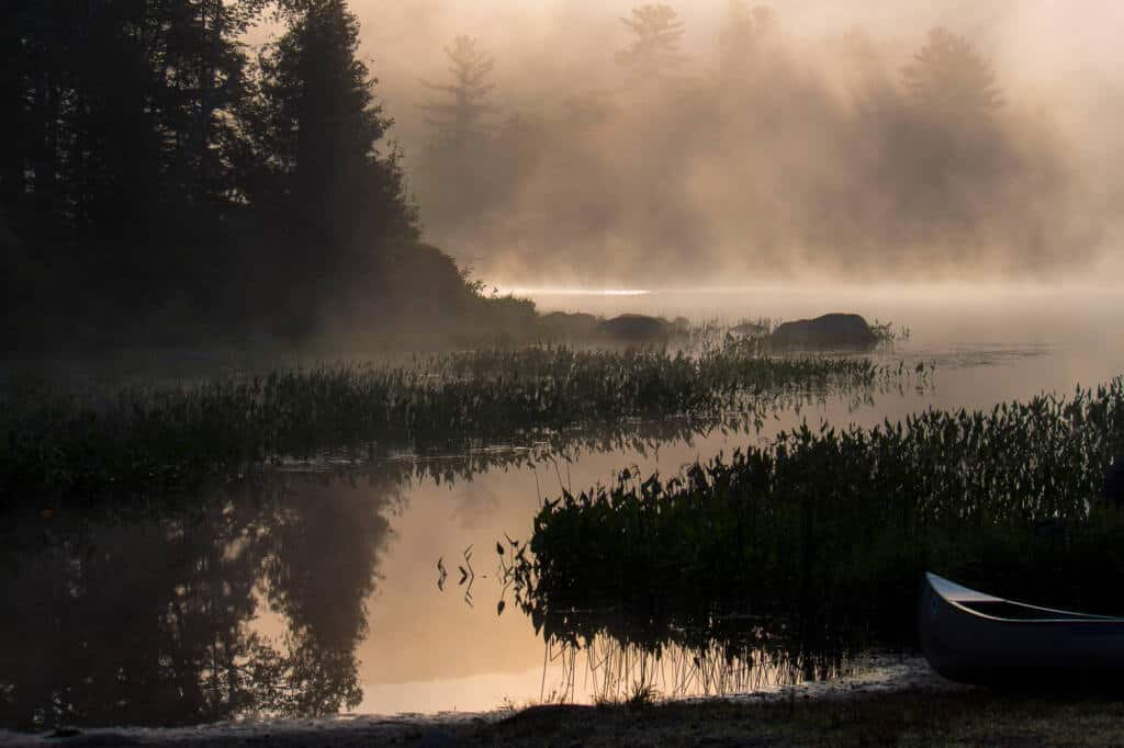 Foggy sunrise over Ricker Pond in Groton State Forest
